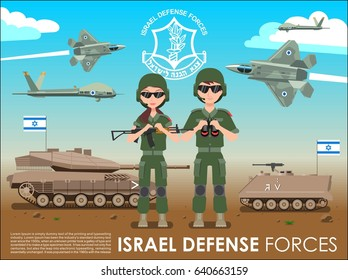 Israel defense forces army banner or poster. IDF men & female soldiers also battle tanks & jets plane in a Israel desert