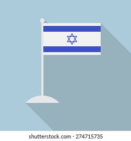 Israel flag with flagpole flat icon with long shadow. Vector illustration EPS10