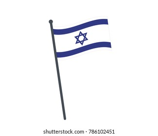 Israel flag. The national flag of Israel on a pole. The waving flag. The sign and symbol of the country. Realistic vector on white.