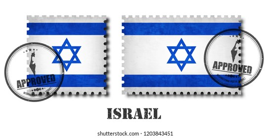 Israel flag pattern postage stamp with grunge old scratch texture and affix a seal on isolated background . Black color country name with abrasion . Square and rectangle shape . Vector .