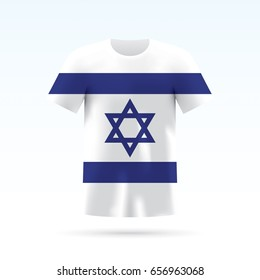 Israel flag printed on a T-shirt. Vector shirt template, isoalted on a white background.