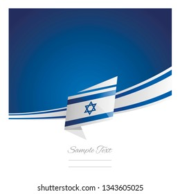 Israel flag ribbon New abstract origami blue background banner vector