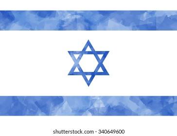 Israel Flag. Vector watercolor illustration. Blue background.