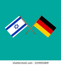 Israel and Germany crossed flags.Language learning or travel concept