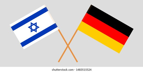 Israel and Germany. Crossed Israeli and German flags