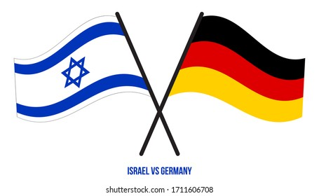 Israel and Germany Flags Crossed And Waving Flat Style. Official Proportion. Correct Colors.