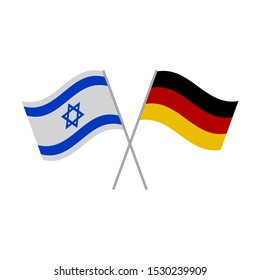 Israel and Germany flags vector icon isolated on white background