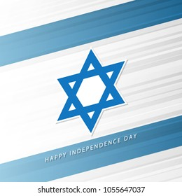 Israel Happy Independence Day celebrate card with israeli national flag background and star of David. Vector illustration.