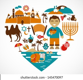 Israel - heart with a lot of vector icons and illustrations