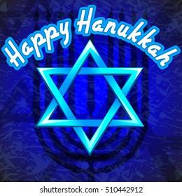 Israel Holiday for Festival of Light Happy Hanukkah celebration background. Vector illustration