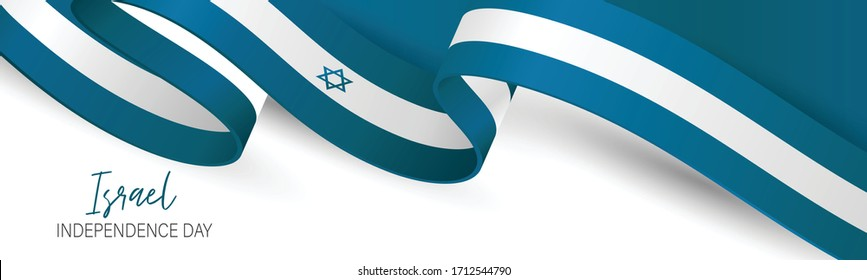 Israel Independence Day banner or site header. National holiday design template. Israeli symbolics background with blue and white flag ribbon. Vector illustration.
