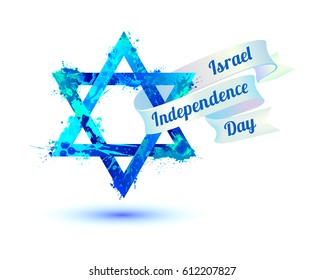 Israel independence day. David star of watercolor splash paint