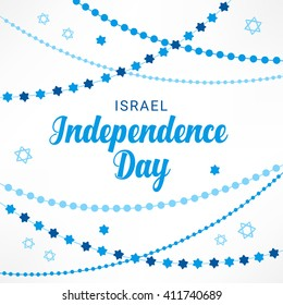 Israel Independence Day greeting card with garlands and Jewish stars in Blue and White. Perfect for Jewish greetings. Vector illustration
