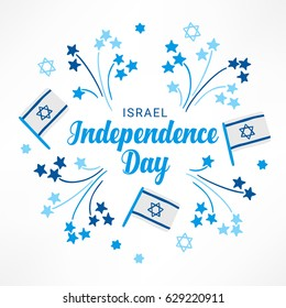 Israel Independence Day greeting card with fireworks and flags in Blue and White. Perfect for Jewish greetings. Vector illustration