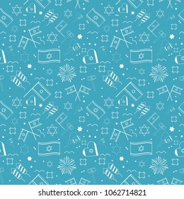 Israel Independence Day holiday flat design white thin line icons seamless pattern.