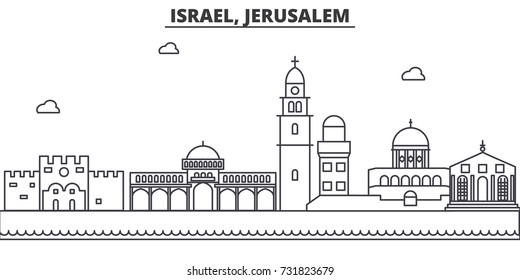 Israel, Jerusalem architecture line skyline illustration. Linear vector cityscape with famous landmarks, city sights, design icons. Landscape wtih editable strokes