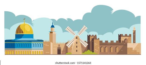 israel, jerusalem architecture skyline vector illustration
