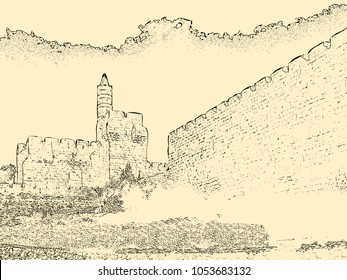 Israel. Jerusalem. Old city. The Tower of David. drawing of a pencil on yellow paper