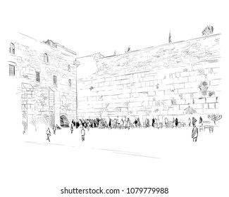 Israel. Jerusalem. Wall of Tears. Hand drawn sketch. Vector illustration.