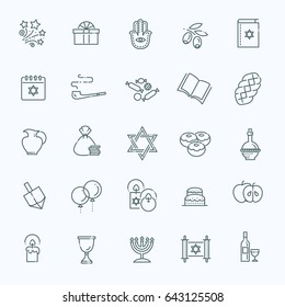 Israel Judaism Icons Collection. Line Happy Hanukkah Icons Set.