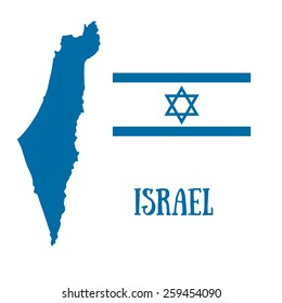 Israel map and flag with David star. Vector illustration