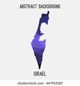 Israel map in geometric polygonal,mosaic style.Abstract tessellation,modern design background. Vector illustration EPS8