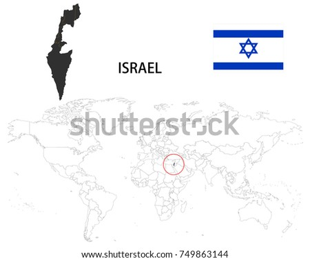 Israel Map On World Map Flag Stock Vector (Royalty Free) 749863144 ...