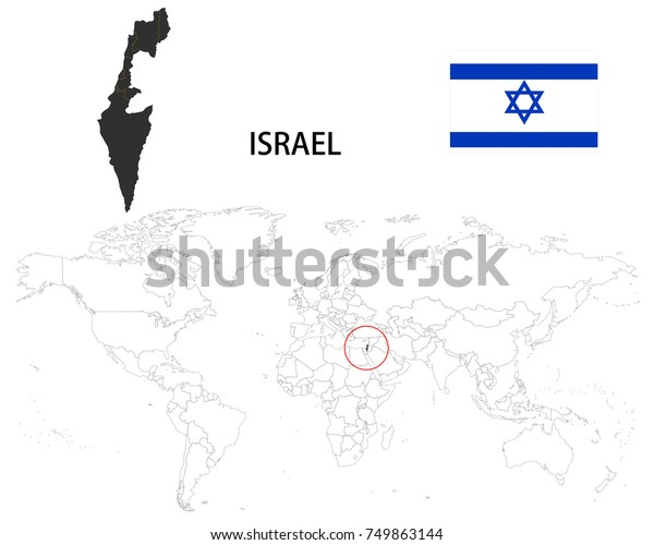 Israel Map On World Map Flag Stock Vector (Royalty Free ...