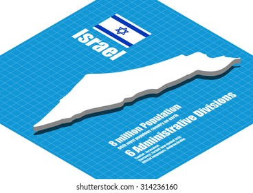 Israel map vector three dimensional