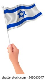 Israel national flag hand icon