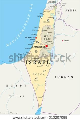 Israel Political Map Capital Jerusalem National Stock Vector ...