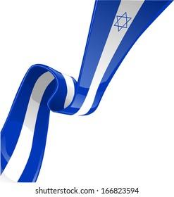 Israel ribbon flag isolated on white