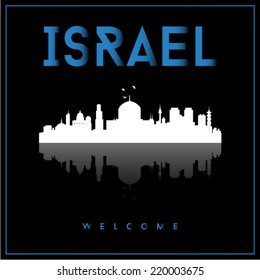 Israel skyline silhouette vector design on parliament blue and black background.
