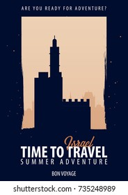 Israel. Time to Travel. Journey, trip and vacation. Vector travel illustration