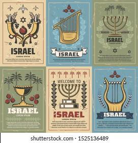 Israel vector design of Judaism religion and jewish culture symbols. Menorah, Star of David and Jerusalem lion of Judah, date palm, pomegranate and cornucopia. Israeli travel and tourism themes