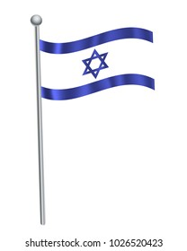 Israel waving flag on flagpole vector illustration.3d vector icon isolated on white background