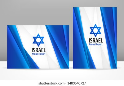 Israeli corporate business abstract template. Brochure cover design, modern layout, annual report, poster, flyer. A4 with blue and white background for Israel government, market presentation