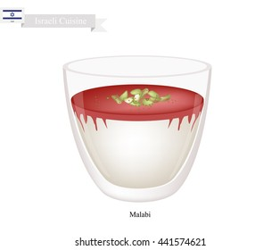 Israeli Cuisine, Malabi or Traditional Milk Pudding Made of Milk and Rose Water with Chopped Pistachios Sprinkled on Top. One of The Most Popular Dessert in Israel.