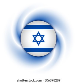 Israeli flag badge on twisted blue and white background