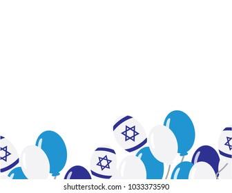 Israeli flag balloons on white background - Israel independence day background