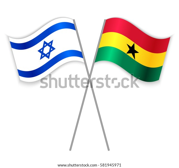 Israeli and Ghanaian crossed flags. Israel combined with Ghana isolated on white. Language learning, international business or travel concept.