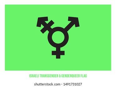 Israeli Transgender & Genderqueer Flag Vector Illustration Designed with Correct Color Scheme.