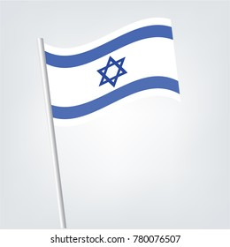 Israeli vector flag template. Waving flag of Israel on a metallic pole, isolated on a white background,Israel flag toothpick on white background.