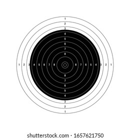 ISSF 50 meter rifle prone. Olympic shooting archery target printable. Stock Vector illustration isolated on white background.