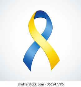 Issue logo loop symbolic conceptual aid problem attention to problem of people with Down syndrome, trisomy copy of chromosome isolated on white background. Global world fund bow with space for text