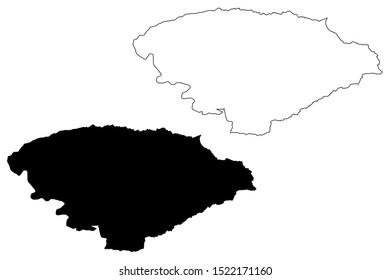 Issyk-Kul Region (Kyrgyz Republic, Kirghizia, Regions of Kyrgyzstan) map vector illustration, scribble sketch Issyk-Kul map