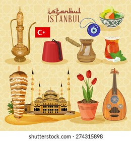 Istanbul arabic Set. Arabi clife set with Turkish household and religious objects