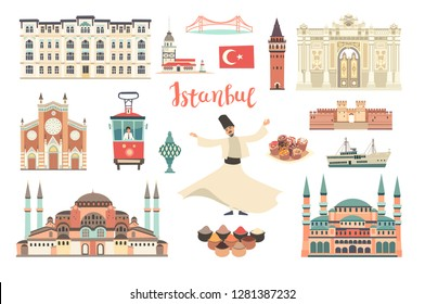 Istanbul City colorful vector collection. Istanbul building and landmarks. Mosque, Temple cartoon style. Bridge and Palace icon. Turkish tram and dancer