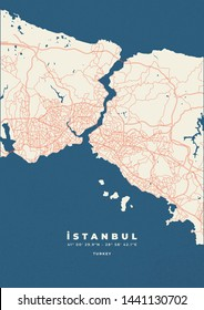 istanbul city map road poster