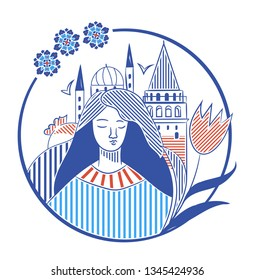 Istanbul city promotion vector illustration with Galata tower, turkish tulip and a girl. Istanbul travel icon.